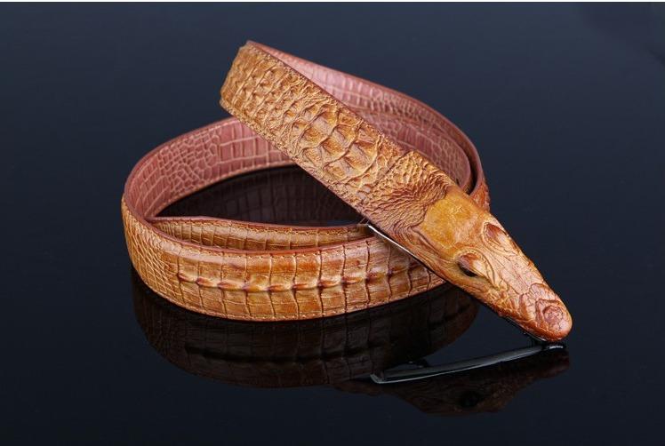 Thắt lưng dây nịt nam da bò 2 lớp vân cá sấu TL001