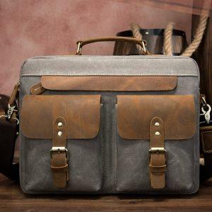 Túi, cặp đeo chéo cavans vải bố chống nước kết hợp da bò thật PL028